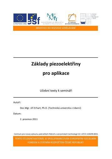 Základy piezoelektřiny pro aplikace - Centrum pro rozvoj výzkumu ...
