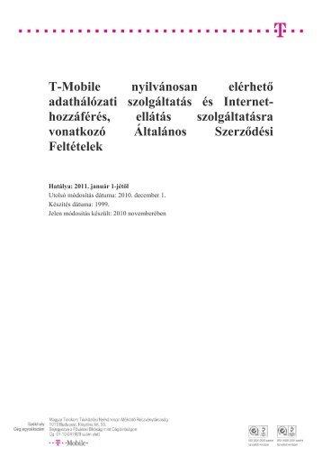 Az általános szerződési feltételek elérhetősége - T-Mobile