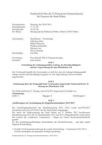 28.05.2013 Protokoll Finanzen - Putbus
