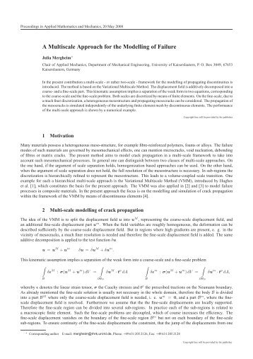 A Multiscale Approach for the Modelling of Failure - ZARM