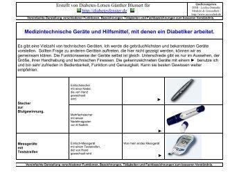 Medizintechnische Geräte und Hilfsmittel, mit denen ein Diabetiker ...