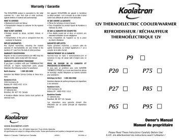 Warranty / Garantie - Air & Water