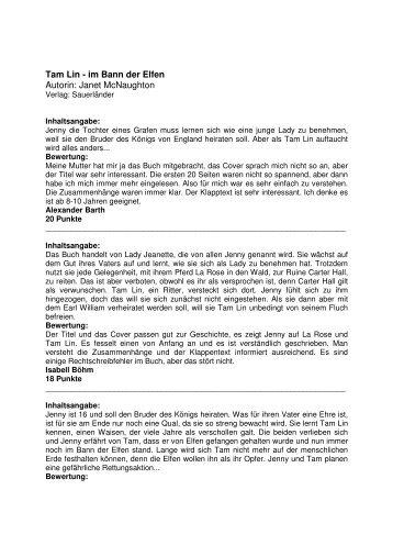 Tam Lin im Bann der Elfen von Janet McNaugthon, Sauerländer ...