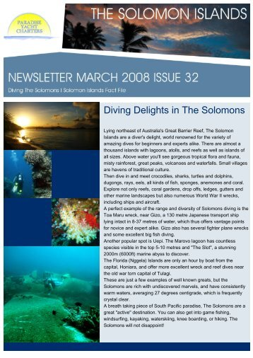 Diving Delights in The Solomons - Paradise Yacht Charters