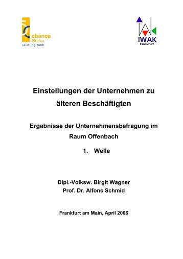 Ergebnisse der 1. Welle im Raum Offenbach - IWAK Frankfurt