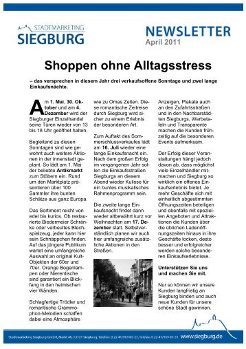 Newsletter - April 2011 (pdf ) - Stadtmarketing Siegburg GmbH