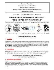 "THIRD OPEN EUROPEAN FESTIVAL ""THE HOPES ... - Schachlinks"