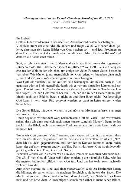 Gottes-Bilder: Vater und Mutter - Ev. Reformierte Gemeinde Ronsdorf