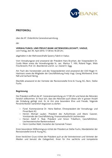 Protokoll - Generalversammlung 2010 (PDF, 120 KB) - VP Bank