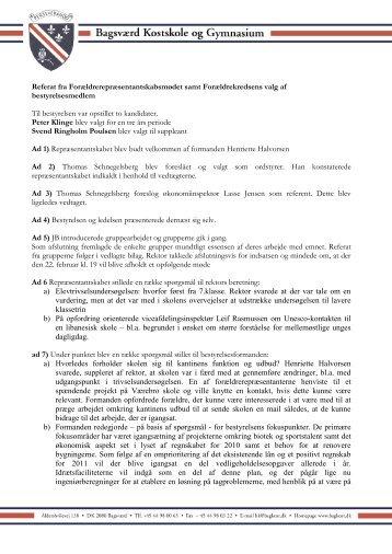 Referat fra forældrerepræsentskabsmøde 15. november 2011
