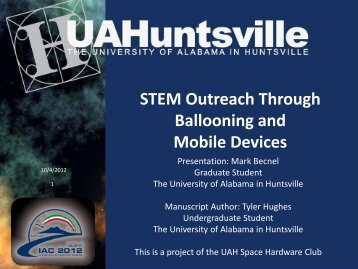 Presentation Title - Space Hardware Club - University of Alabama in ...