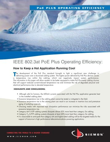 IEEE 802.3at PoE Plus Operating Efficiency: - Communications ...