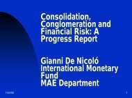 Consolidation, Conglomeration and Financial Risk: A ... - World Bank