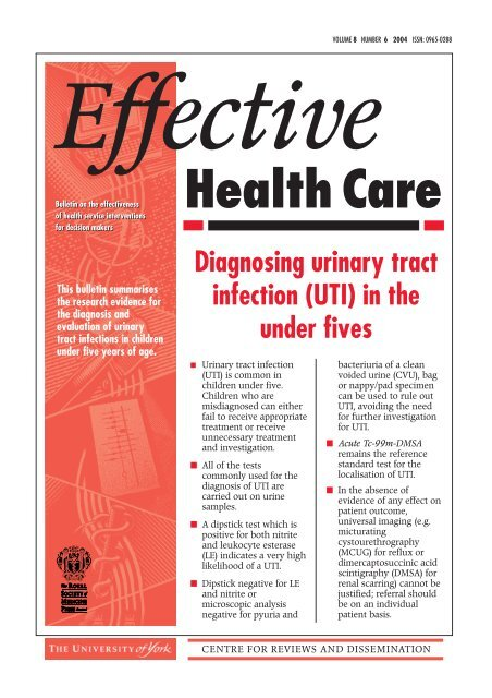 Diagnosing urinary tract infection in the under fives