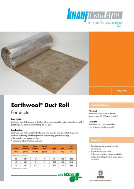 Earthwool® Duct Roll - Knauf Insulation