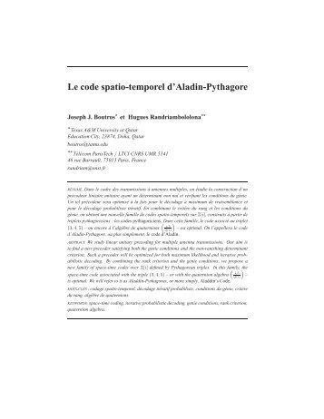 Le code spatio-temporel d'Aladin-Pythagore - Télécom ParisTech