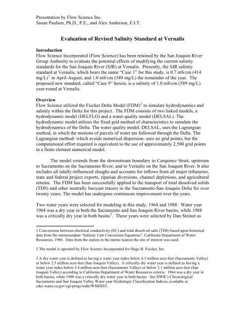 Evaluation of Revised Salinity Standard at Vernalis - State