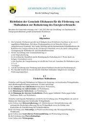 Richtlinien der Gemeinde für die Förderung - Gemeinde Elixhausen