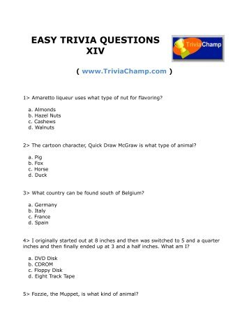 EASY TRIVIA QUESTIONS - Trivia Champ