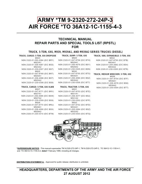 Army Tm 9 2320 272 24p 3 Air Force To 36a12 1c 1155 4