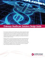 Enterasys Healthcare Solutions Design Guide