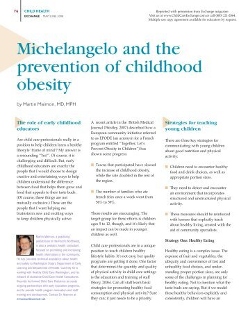 childhood obesity prevention and treatment The prevalence of childhood obesity in the united states has risen dramatically in the past several decades although 25 to 30 percent of children are affected, this condition is underdiagnosed.