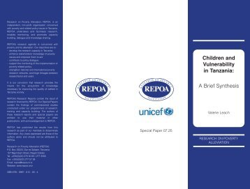 Children and Vulnerability In Tanzania: A Brief Synthesis - Repoa