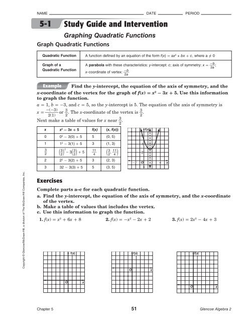 5 1 Study Guide And Intervention Graphing Quadratic