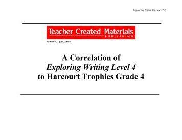 Harcourt Trophies Fourth Grade Correlation