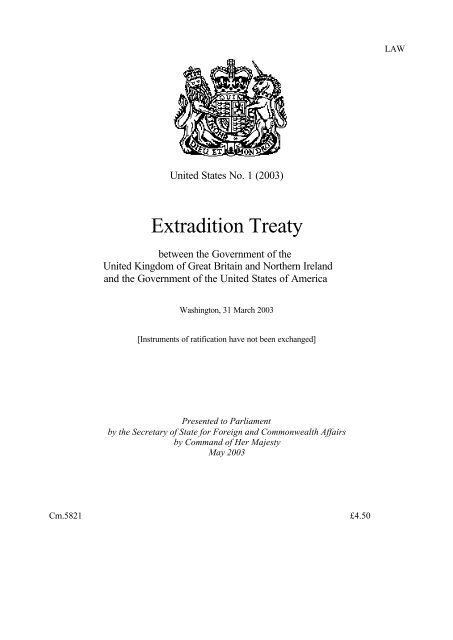 2003 UK-US extradition treaty - Statewatch