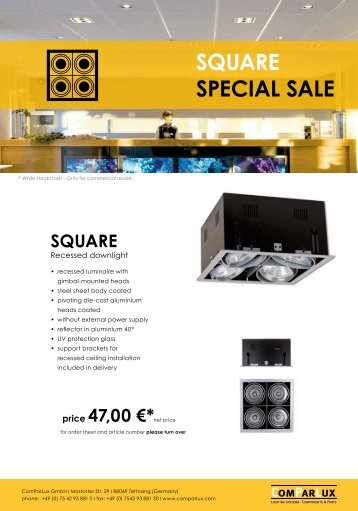 Special Sale Square - Comparlux Lighting Systems Gmbh