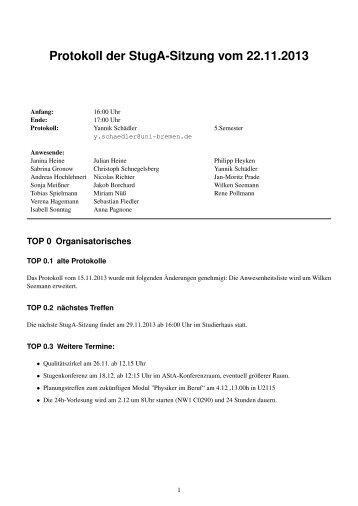 Protokoll20131122 - StugA Physik der Uni Bremen