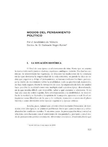 MODOS DEL PENSAMIENTO pOLíTICO - Real Academia de ...