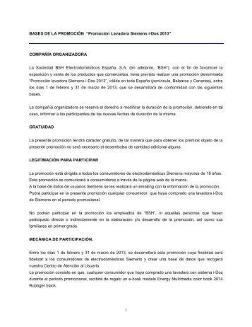 """BASES DE LA PROMOCIÓN """"EXPOBALAY LAVADO"""" - Siemens"""