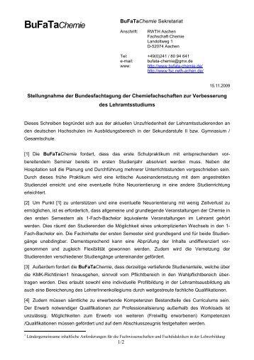 findet ihr eine pdf-Version der Stellungnahme. - BuFaTa Chemie