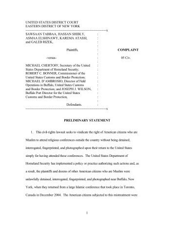 Tabbaa v. Chertoff - New York Civil Liberties Union