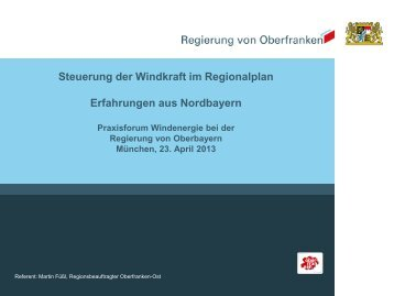 Steuerung der Windkraft im Regionalplan Erfahrungen aus Nordbayern ...