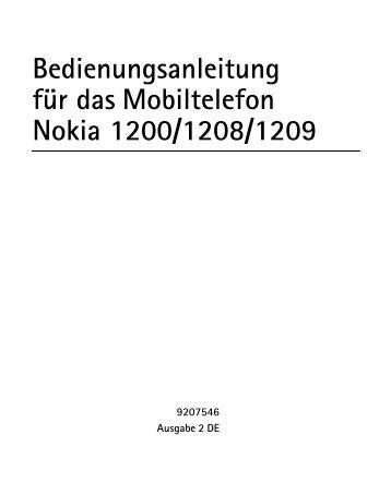 Bedienungsanleitung für das Mobiltelefon Nokia 1200 ... - Wartung