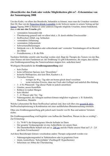 Erkenntnisse von der Sanumtagung 2008 - Naturheilpraxis Kallmeyer