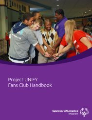 Project UNIFY Fans Club Handbook - Special Olympics Wisconsin