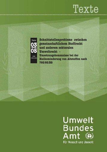 Schnittstellen zwischen Stoffrecht und sektoralem Umweltrecht