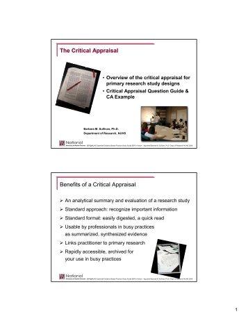 The Critical Appraisal Benefits of a Critical Appraisal - National ...