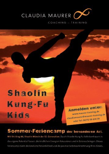 Shaolin Kung-Fu Kids Feriencamp - Maurer Training