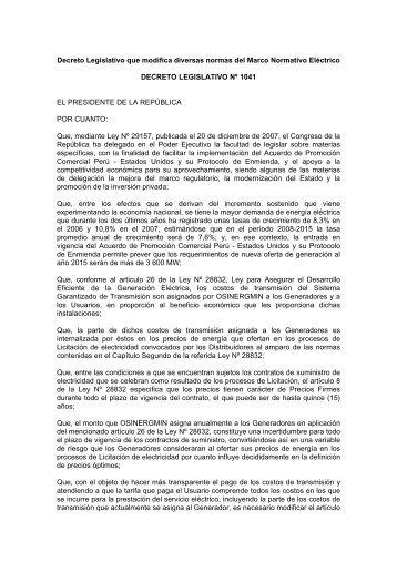 Decreto Legislativo N° 1041 - osinergmin