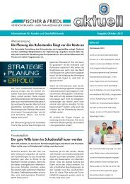 Ausgabe Oktober 2013 - Fischer & Friedl GmbH Versicherungsmakler