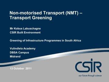 Non-motorised Transport (NMT) – Transport Greening