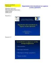Organisation de la transfusion en urgence au bloc opératoire - JLAR