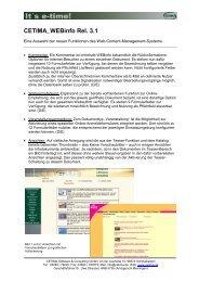 CETIMA_WEBinfo Rel. 3.1 - CETIMA Software & Consulting GmbH