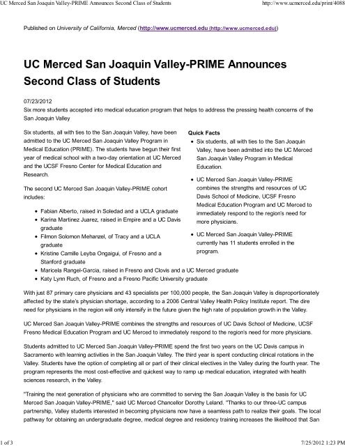 UC Merced San Joaquin Valley-PRIME Announces     - UCSF Fresno