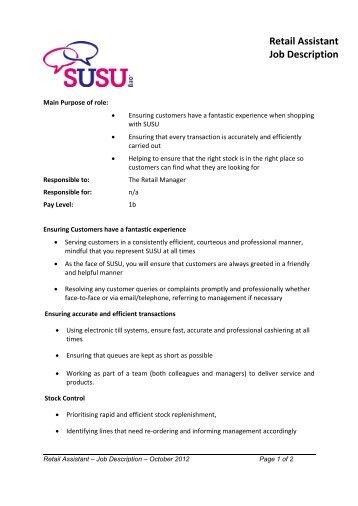 retail assistant job description pdf